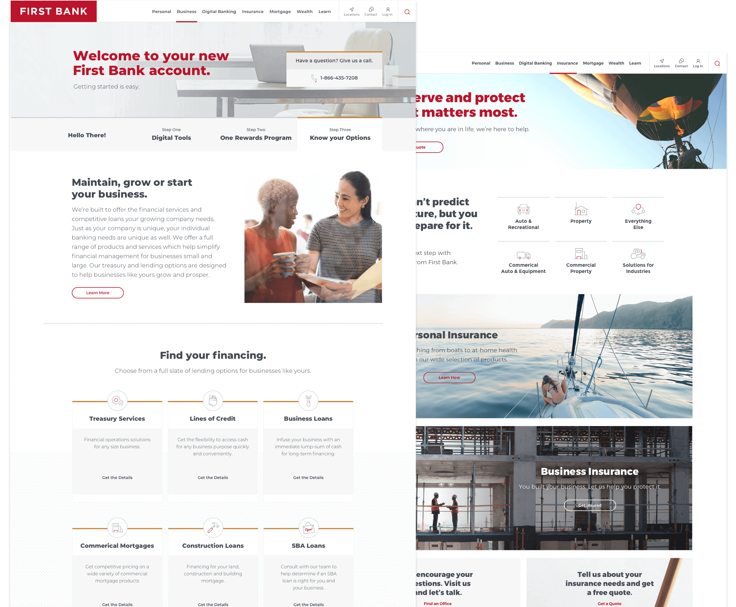 First Bank Business and Insurance pages