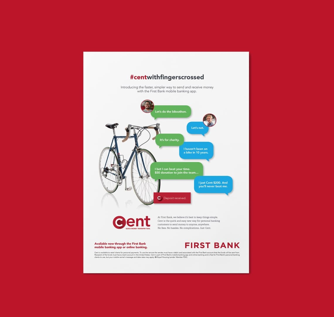 First Bank Cent Quick Money Transfer Tool print material
