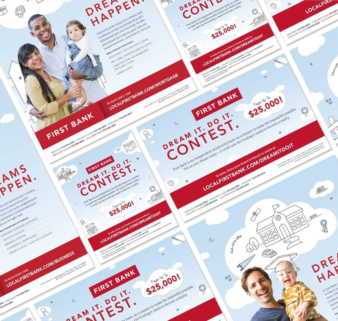 First Bank. Dream It. Do It. Contest It. print materials