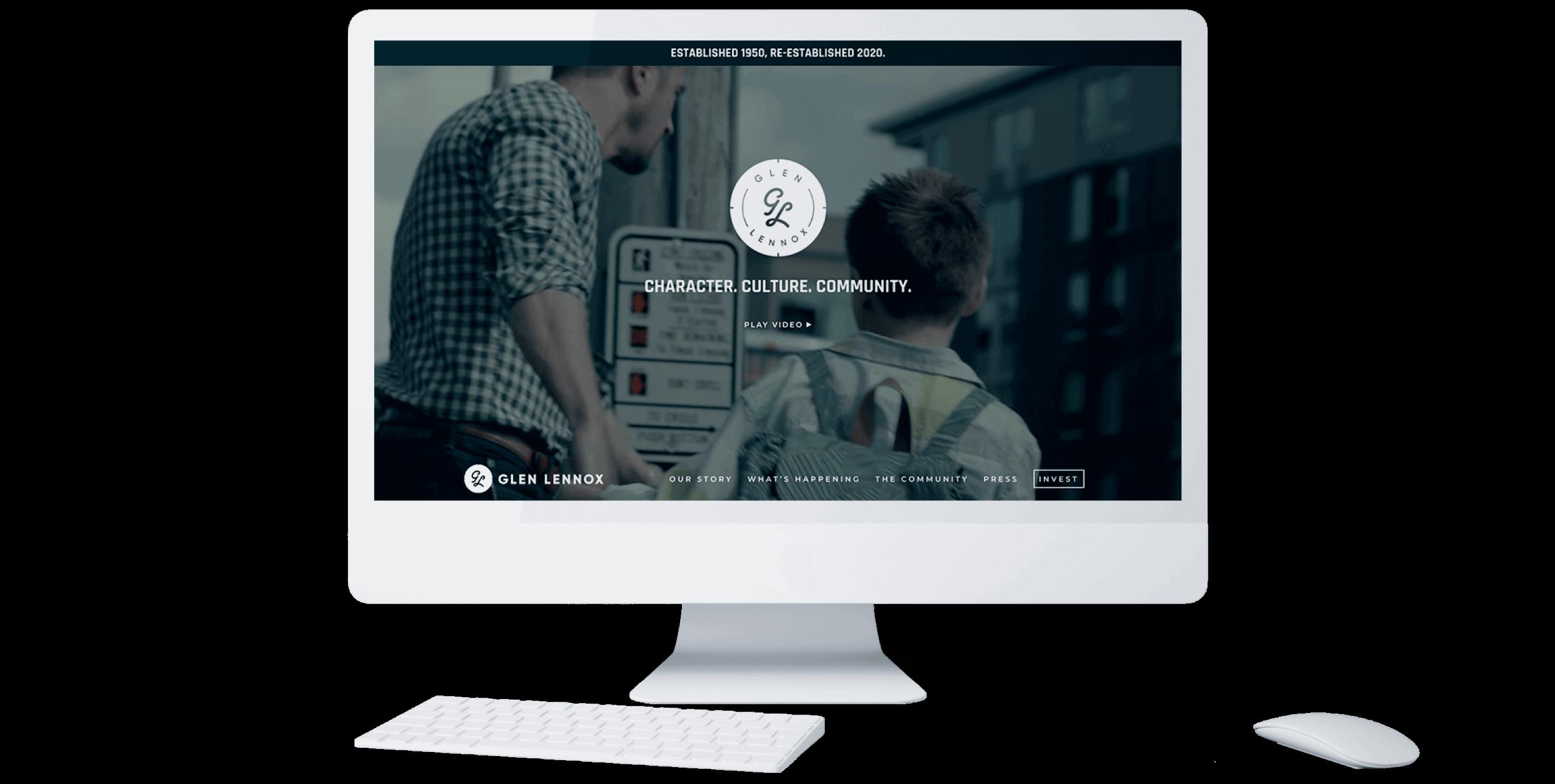 Glen Lennox Homepage on desktop computer