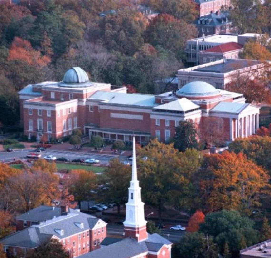 Morehead Planetarium aerial view of building