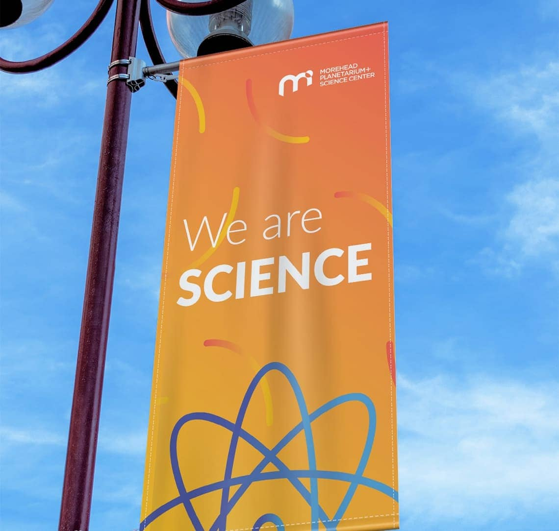Morehead Planetarium light post sign