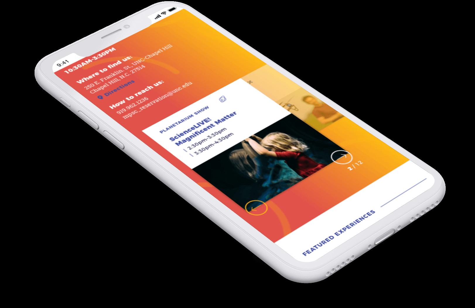 Morehead Planetarium Calendar web page on mobile screen