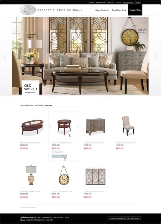 A screenshot of the Bassett Mirror Company website