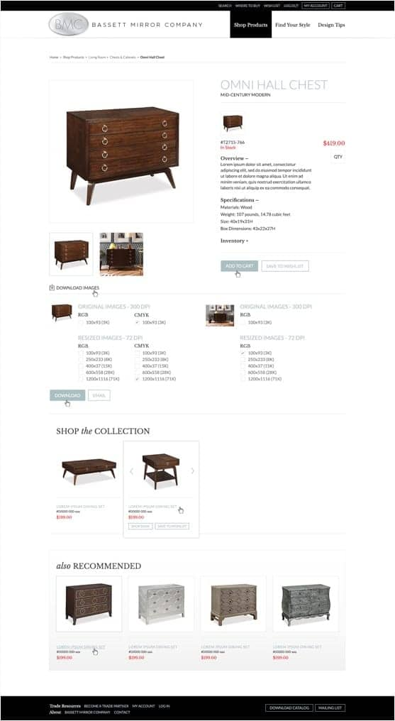 Bassett Mirror Company's website products page