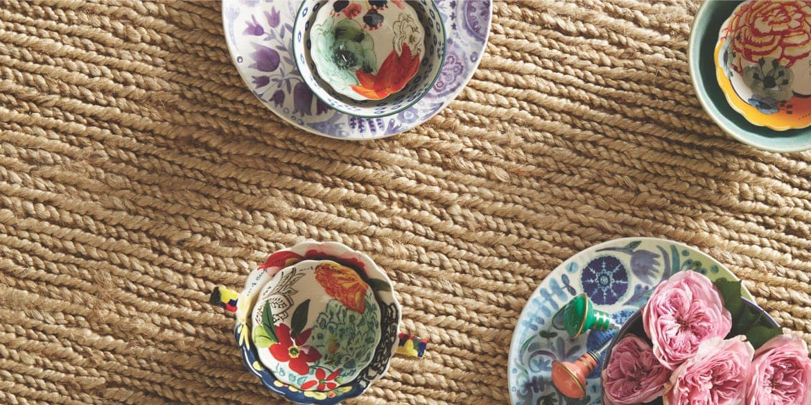 Capel Rugs example with decorative bowls