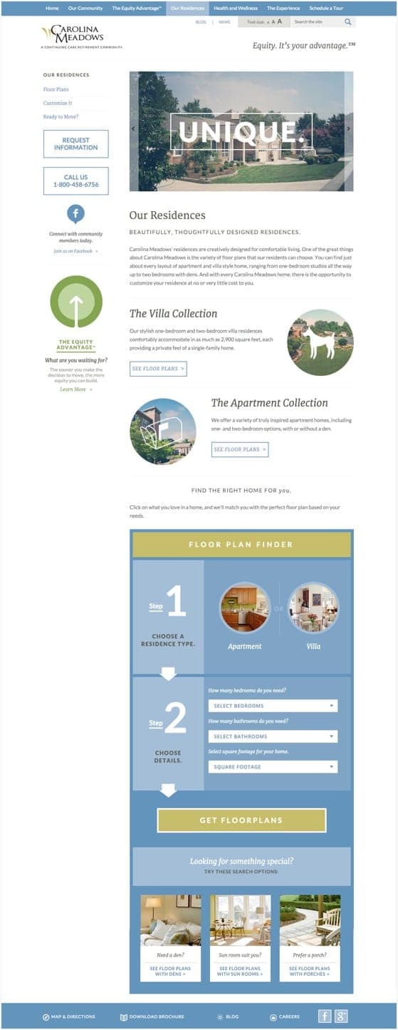 The Our Residences page from the Carolina Meadows website