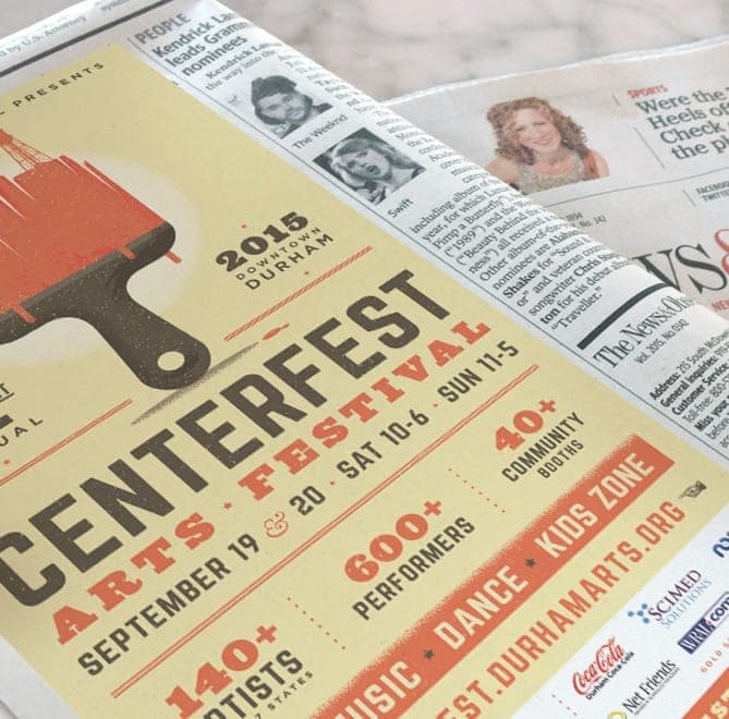 Newspaper ad for the CenterFest Arts Festival