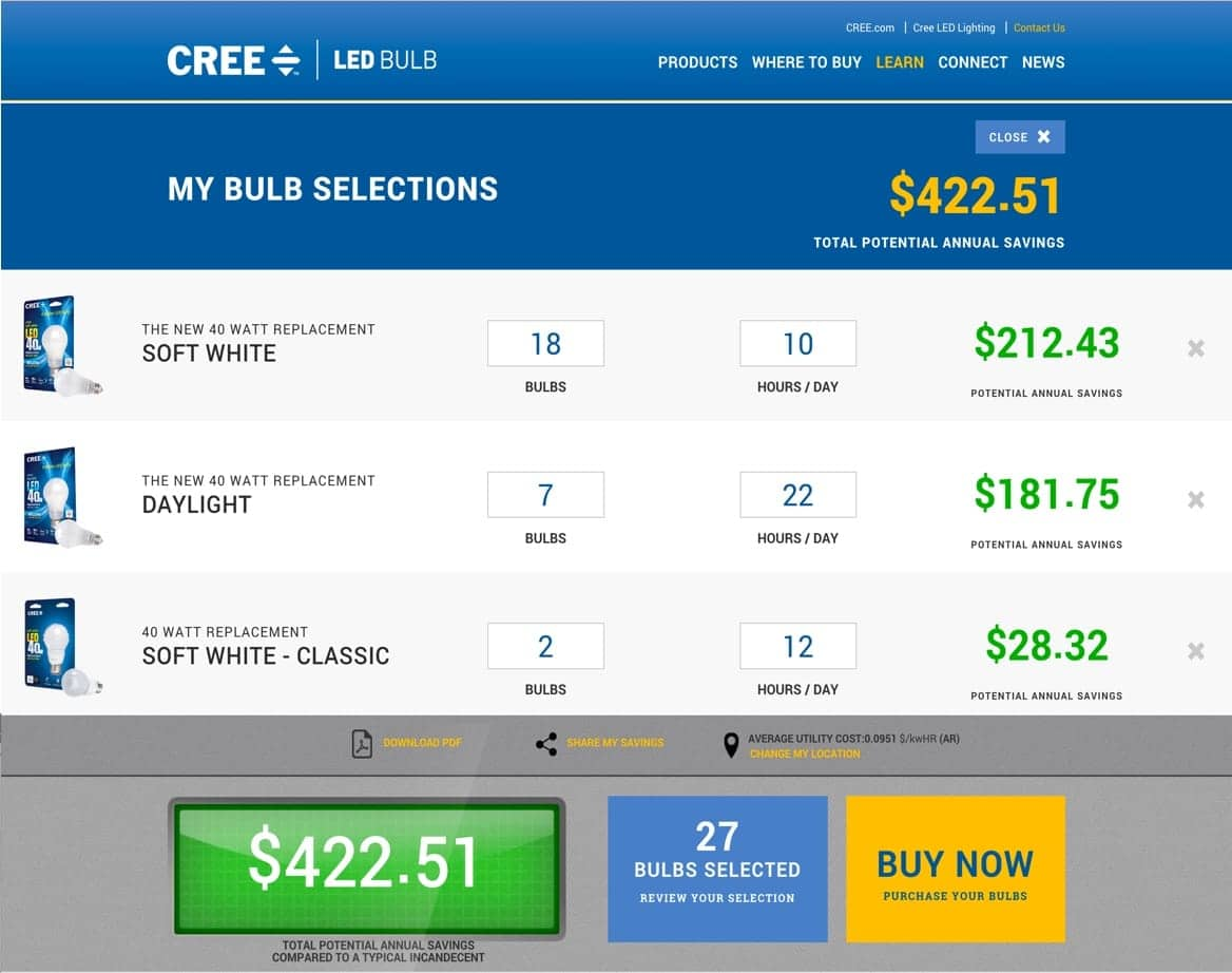 Bulb Selections page from the Cree website