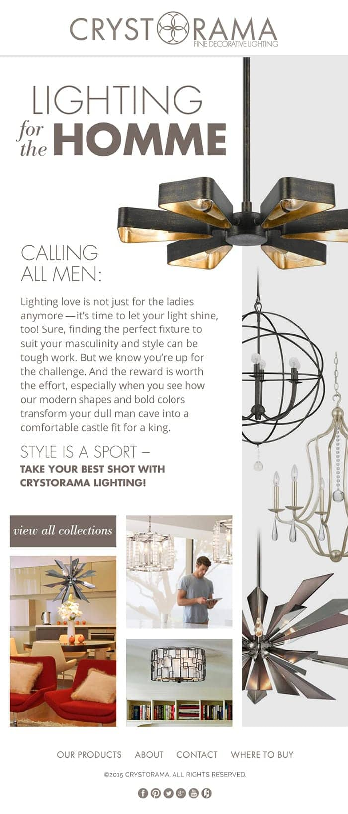 Mens style lighting from the Crystorama website