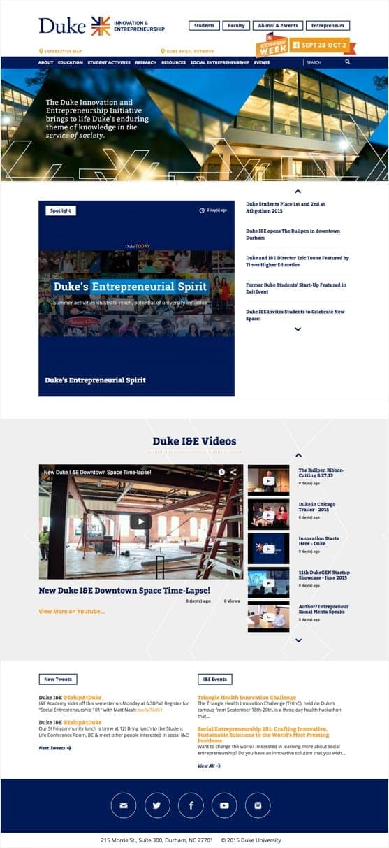 Duke Innovation and Entrepreneurship Spotlight website page