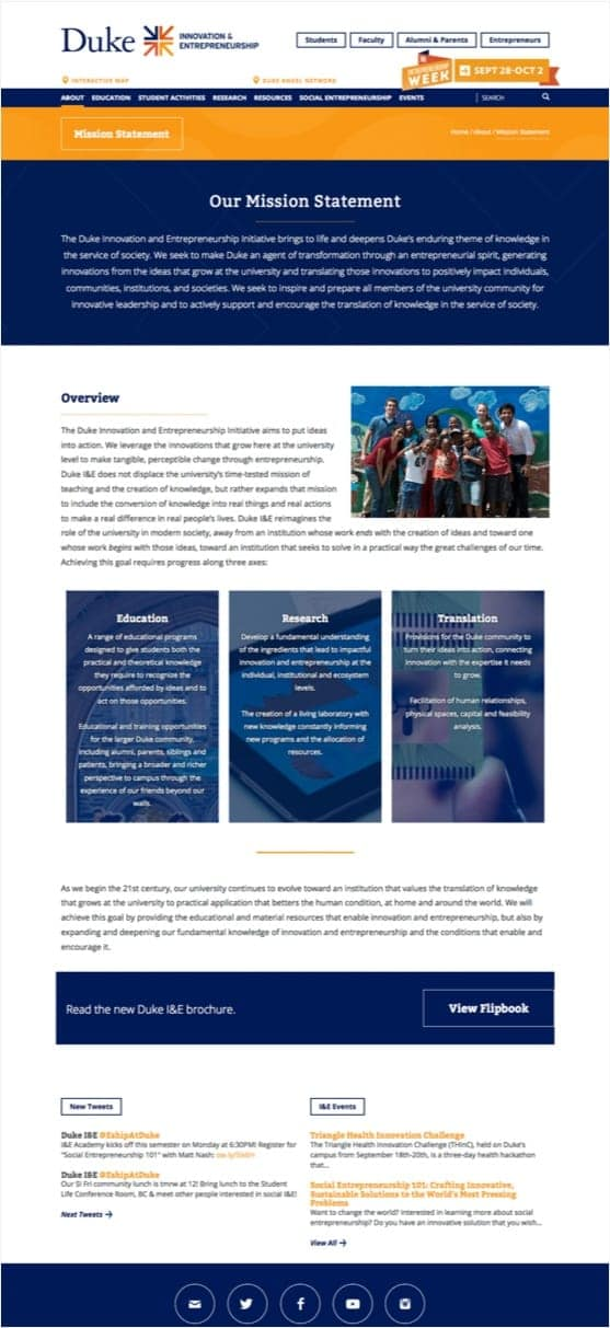 Mission Statement page from the Duke Innovation and Entrepreneurship website