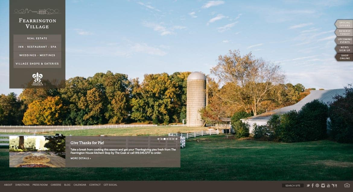 Fearrington Village homepage showing a scenic farm