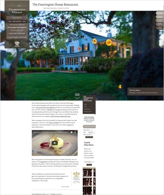 Web page showing the Fearrington Village Restaurant
