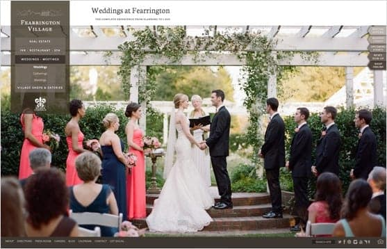 Web page showcasing weddings at Fearrington Village