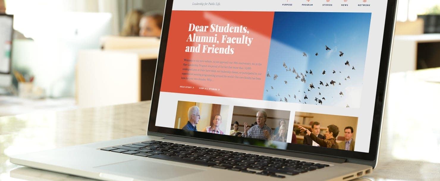 Laptop showing the Hart Leadership website