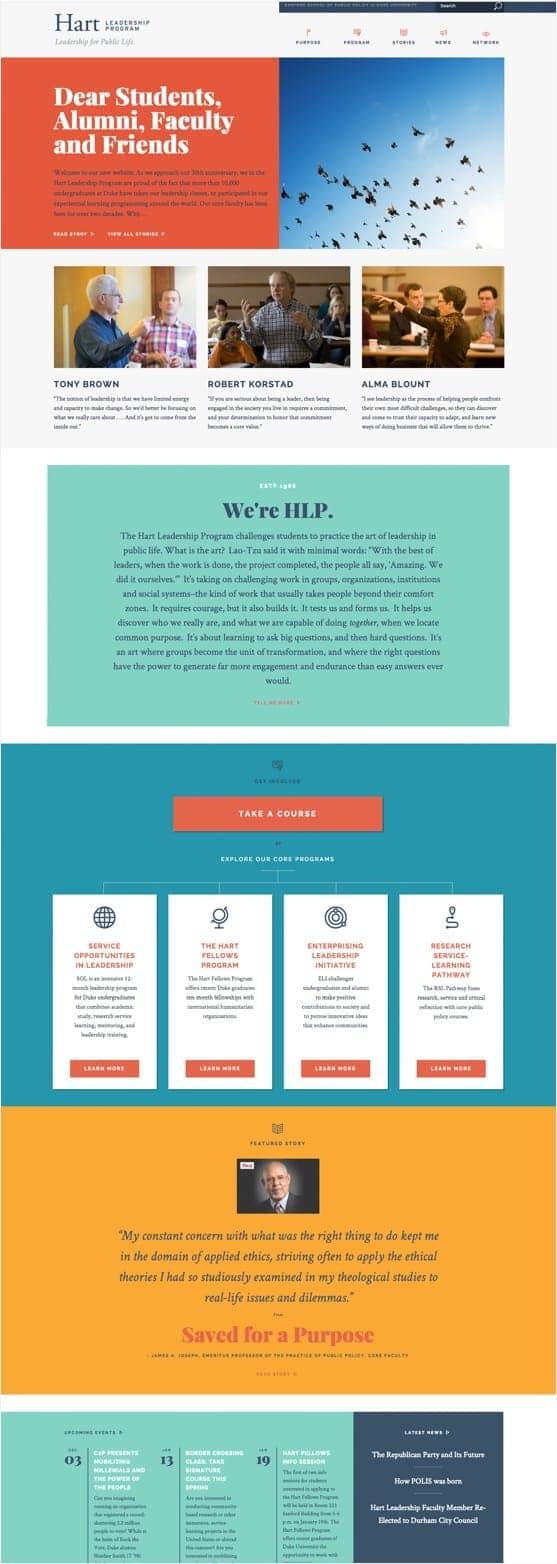 Desktop view of the Hart Leadership Program website