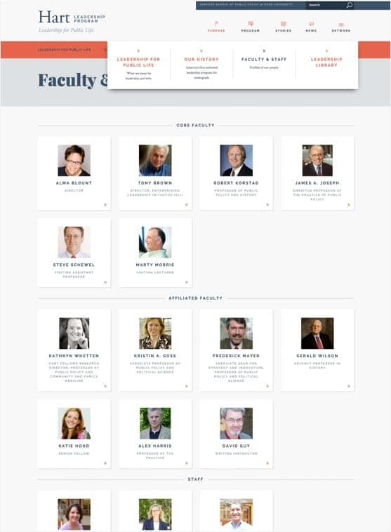 Faculty and Staff page from the Hart Leadership Program website