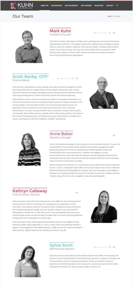 Our Team page from the Kuhn Advisors website