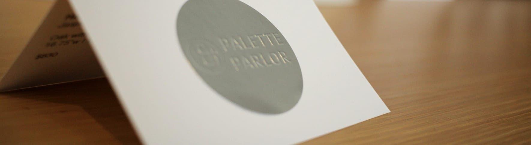 Print design of the Palette & Parlor logos