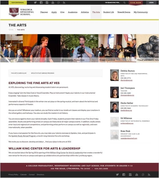 The Arts page design for the Virginia Episcopal School website