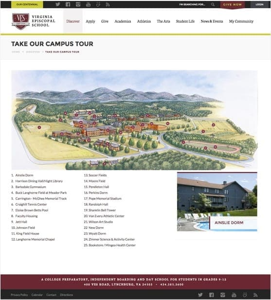 Campus Tour page design for the Virginia Episcopal School website