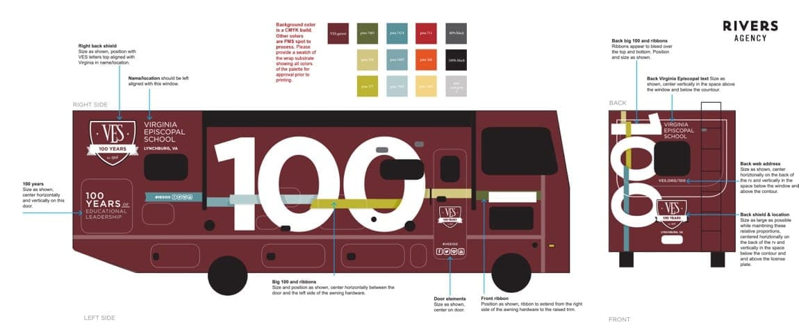 Side and front view of bus design concept