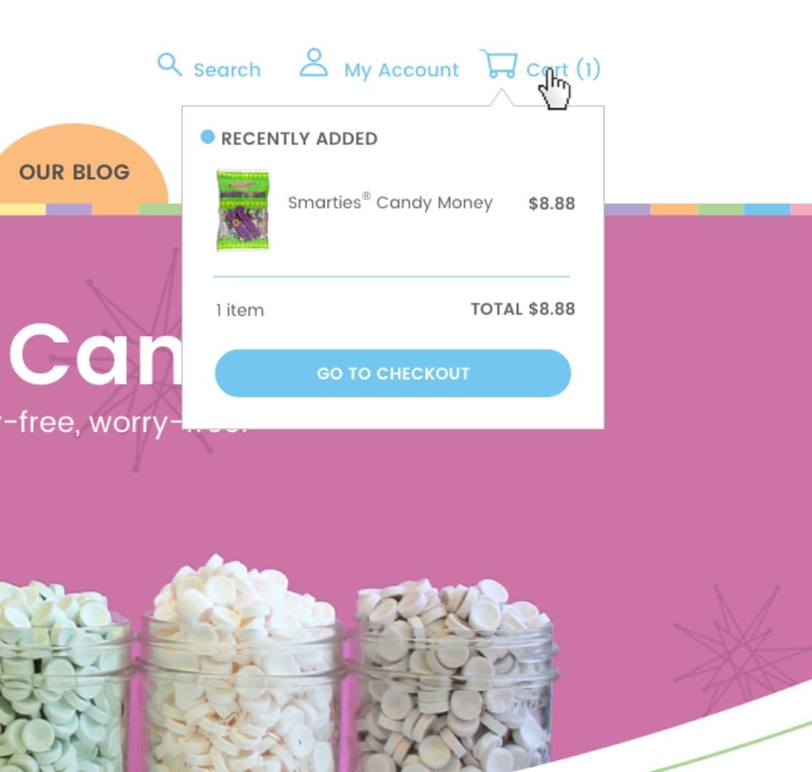 Smarties website checkout cart