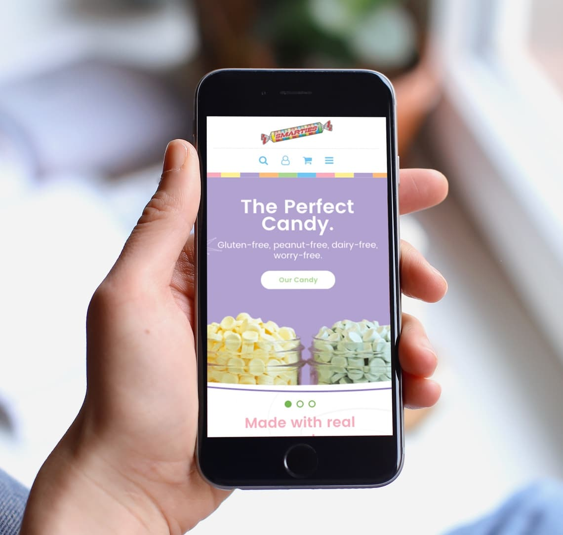Smarties website on mobile