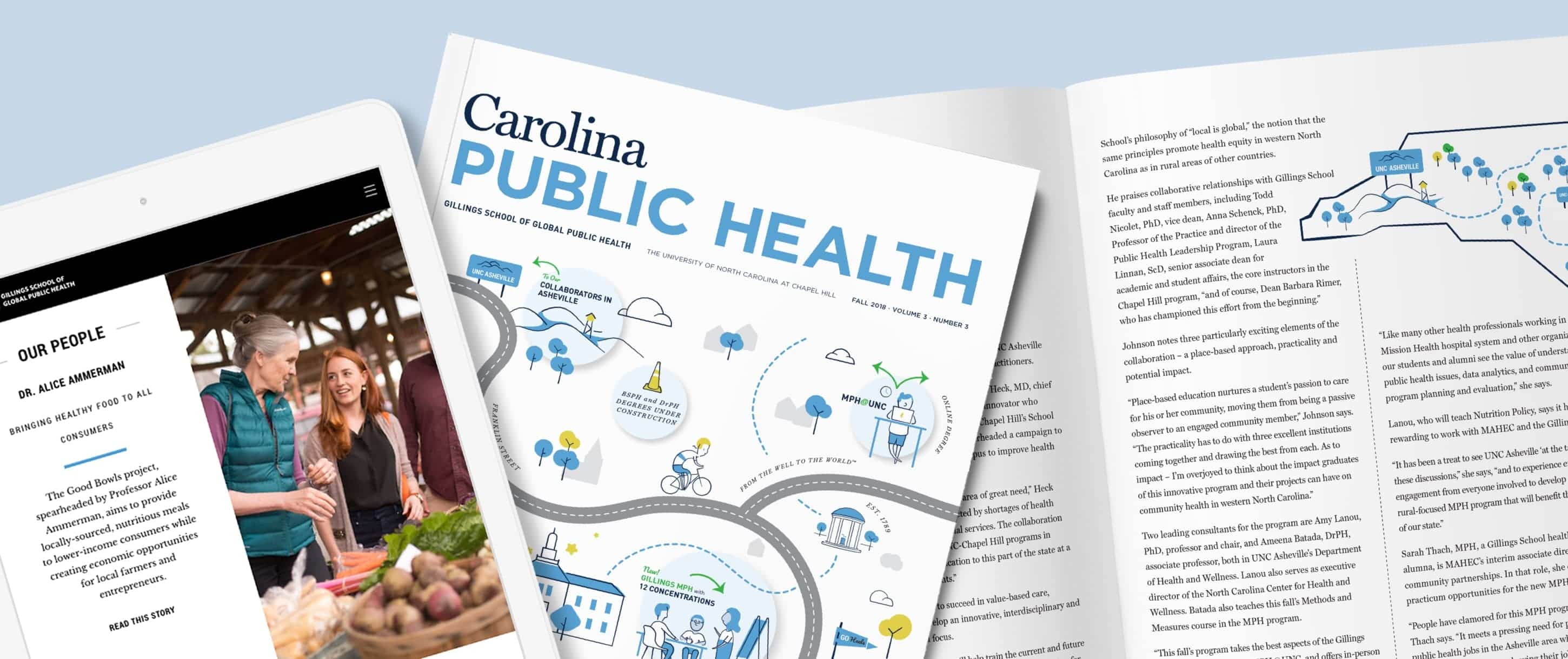UNC Gillings School hero with landing page on tablet and magazines