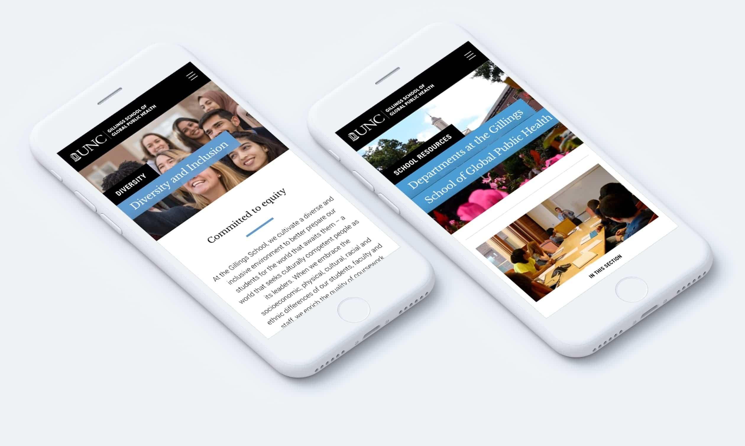UNC Gillings School responsive website on mobile phones