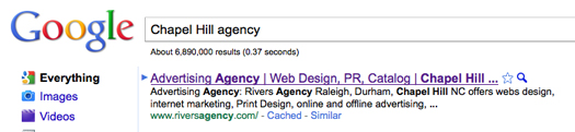 "Google search for ""Chapel Hill agency"""