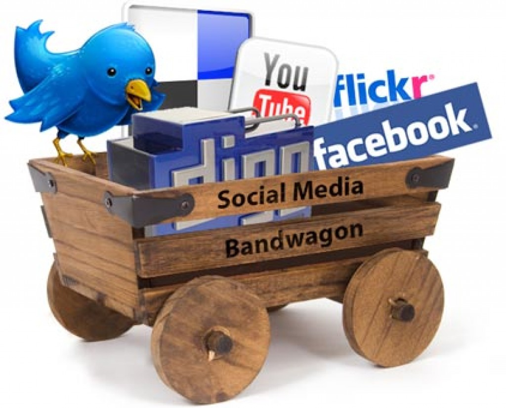 wooden wagon full of social media icons