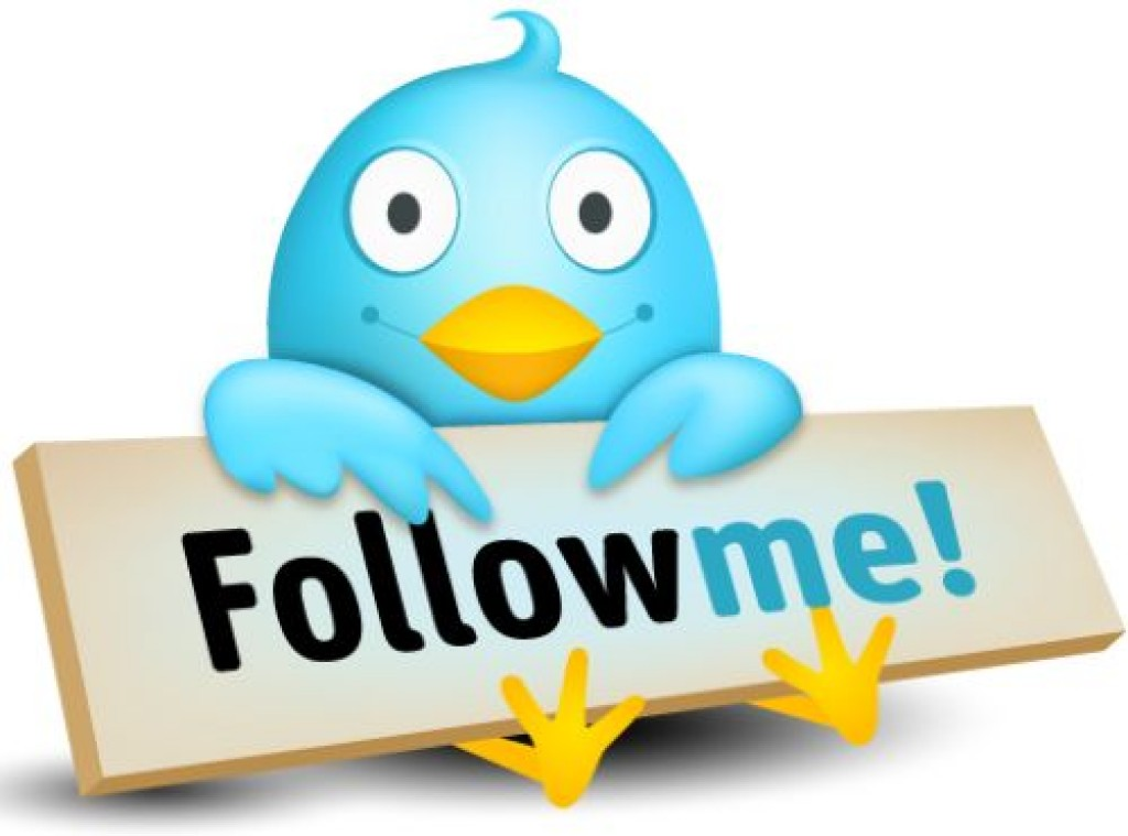 twitter bird holding a sign saying follow me