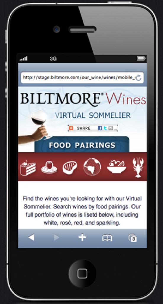 biltmore wines website displayed on mobile device
