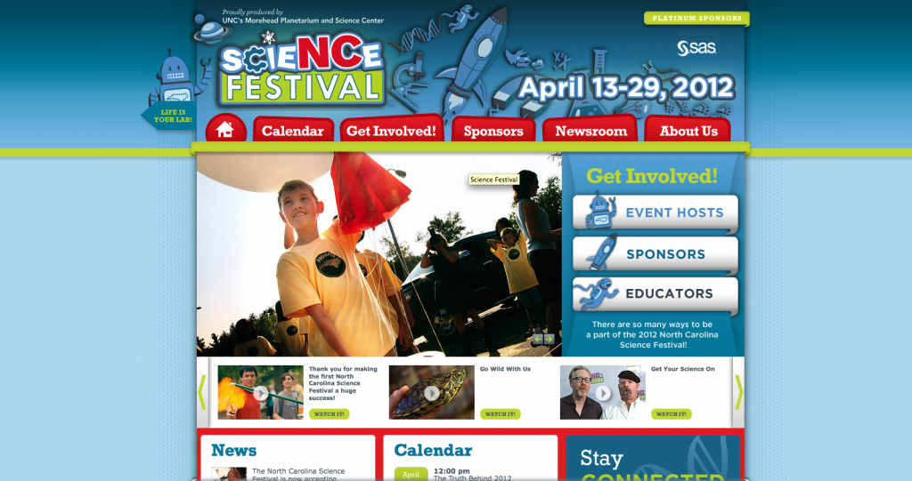 front page of science festival website