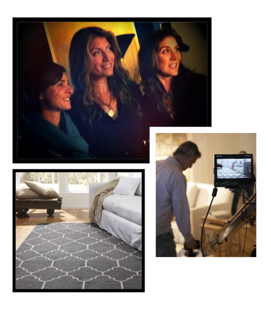 split image of three women, a living room, and equipment taking the picture