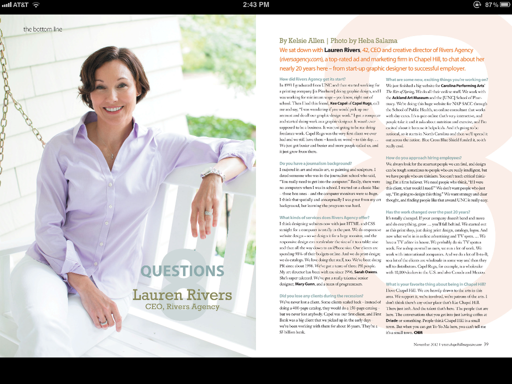 Lauren Rivers in Chapel Hill Magazine's 8 Questions feature