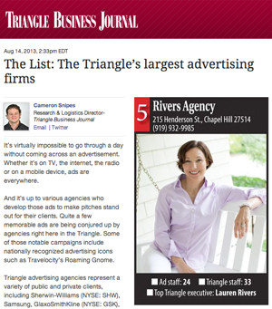 The Triangle's largest advertising firms