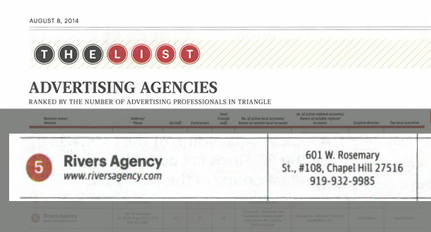 Rivers Agency a Top N.C. Ad Agency