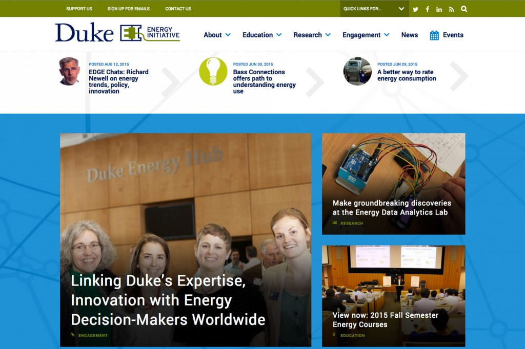 front page of duke energy initiative website