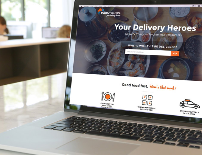 takeout delivery website displayed on a mac book