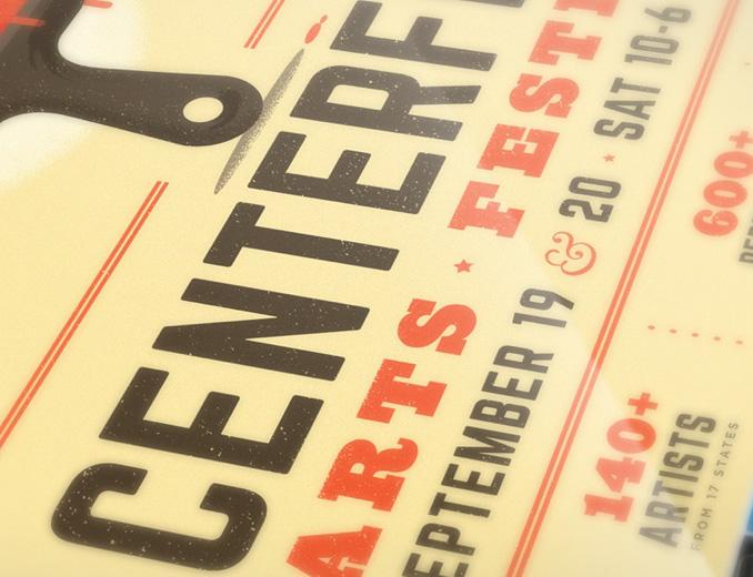 close up of centerfest logo