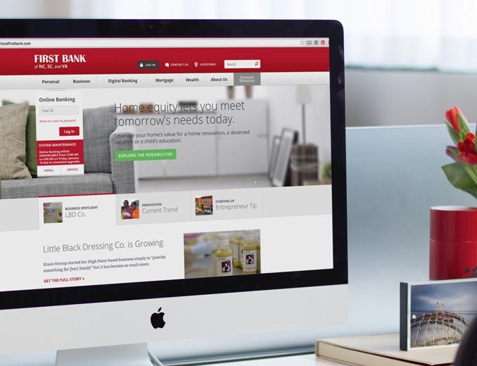 first bank website displayed on mac