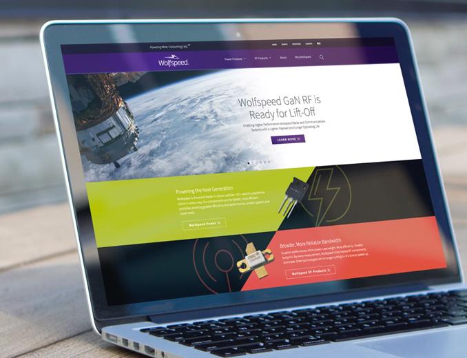 wolfspeed website displayed on mac book