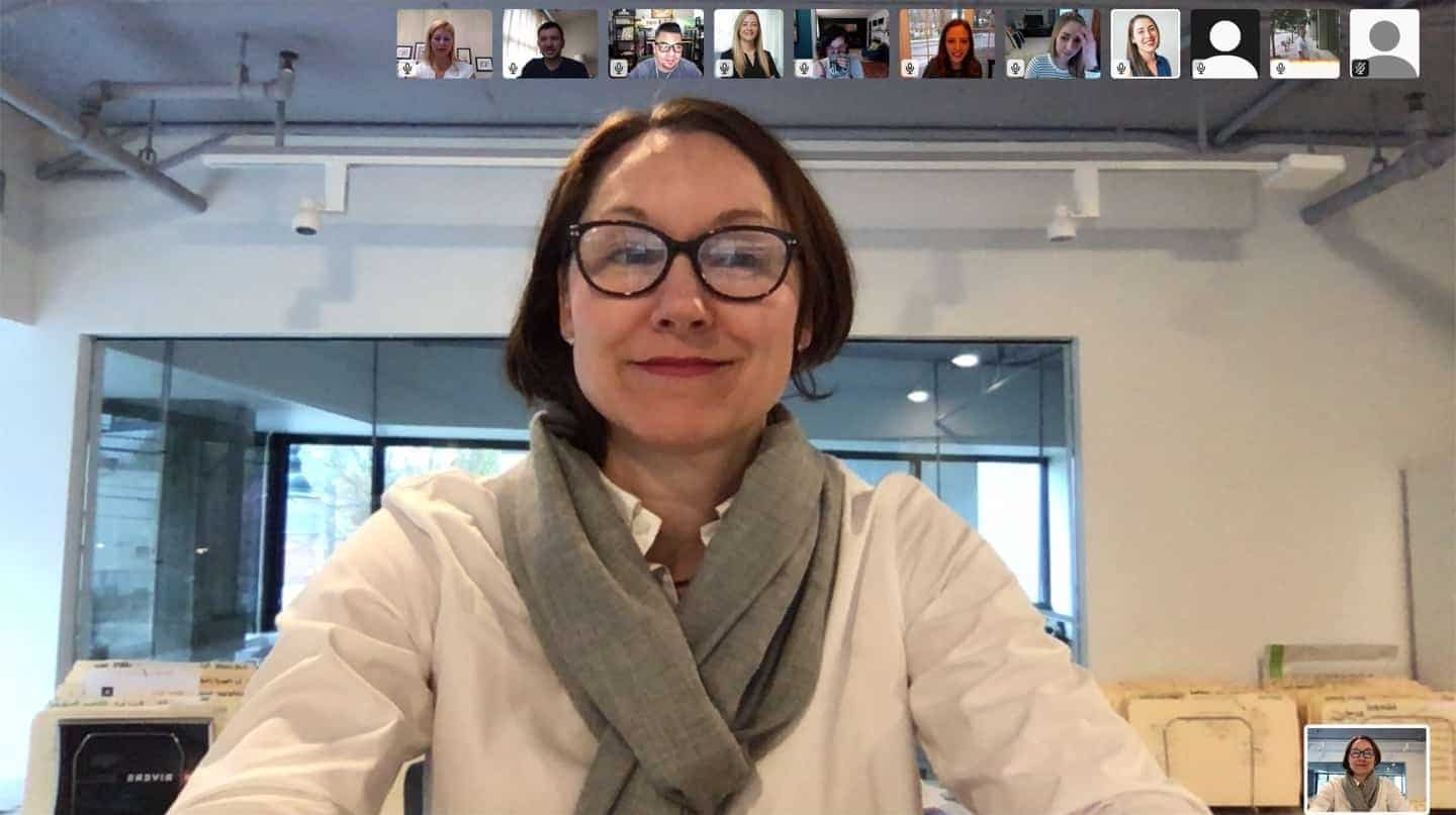 Screenshot of the Rivers team during a video call