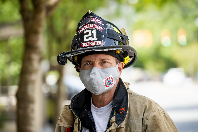 fireman wearing mask