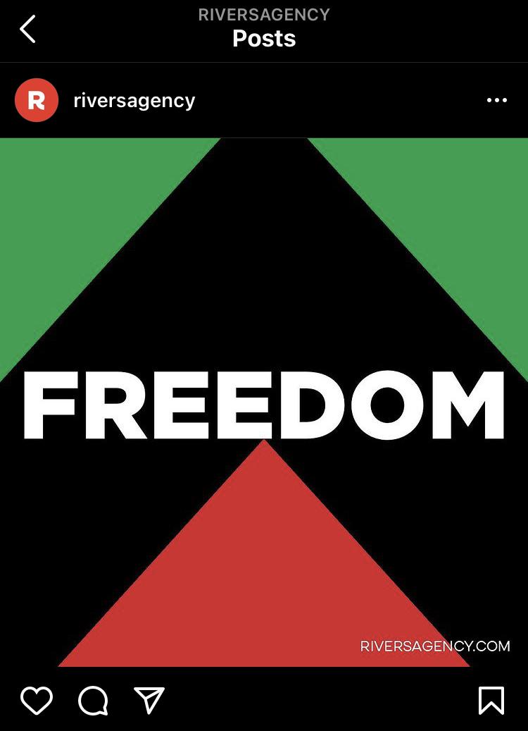 River's Freedom Instagram post